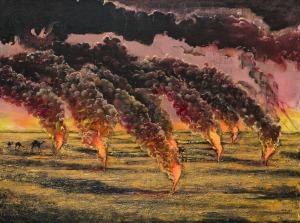Michał Mroczka (1984), Płonące szyby ropy naftowej (2015)