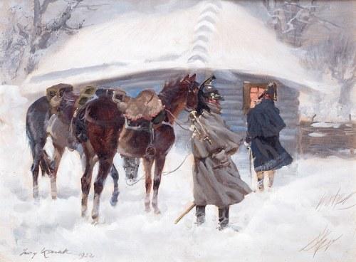Jerzy Kossak (1886 Kraków - 1955 tamże), Kirasjerzy przed chatą, 1932r.