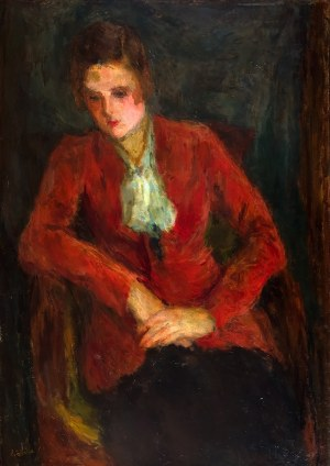 Eugeniusz Eibisch (1896 Lublin - 1987 Warszawa), Portret kobiety w czerwieni