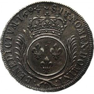 France, Louis XIV, Ecu aux palmes 1694 D, Lyon