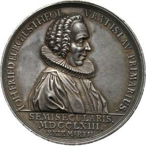 XVIII wiek, Śląsk, Wrocław, Jan Fryderyk Burg, medal z 1763 roku, wybity z okazji 50-lecia piastowania stanowiska pastora