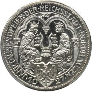 Germany, Weimar Republic, 3 Mark 1927 A, Berlin, Nordhausen, Proof
