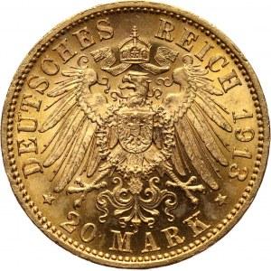 Germany, Saxony, Friedrich August III, 20 Mark 1913 E, Muldenhütten