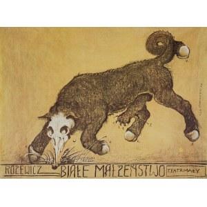 Franciszek STAROWIEYSKI (1930-2009) - projekt, Plakat do spektaklu Białe Małżeństwo dla Teatru Małego