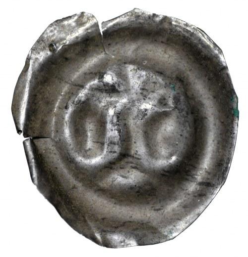 Brakteat, II połowa XII wieku, dwie głowy