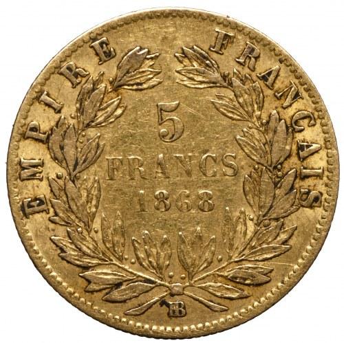 Francja, Napoleon III, 5 franków 1868 BB