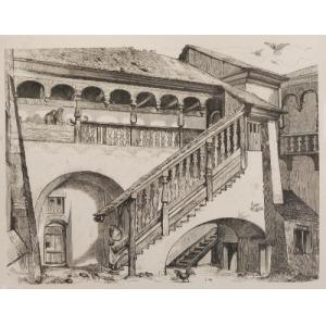Jan MATEJKO (1838-1893)  - według, Dziedziniec w klasztorze Panien Norbertanek na Zwierzyńcu w Krakowie