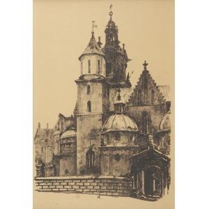 Jan GUMOWSKI (1883-1946), Katedra na Wawelu z teki Widoki Krakowa