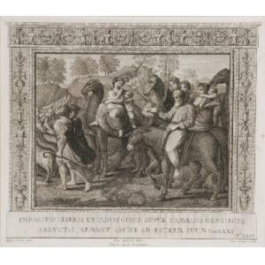 Aloysio CUNEGO ? (1757-1823) Raffaello SANTI , Jakub powraca z rodziną do ziemi