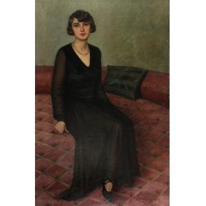 Julian AJDUKIEWICZ (1883 -?), Portret damy w czarnej sukni, 1930