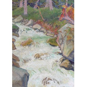 Ludwik de LAVEAUX (1891-1969), Strumień w górskim lesie, 1927