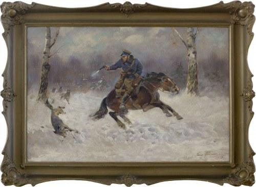 Jerzy Kossak (1886-1955), Żołnierz na koniu w walce z wilkami, 1938