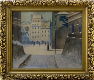 Franciszek Sunderland (I poł. XX w.), Widok na warszawską Starówkę, 1928