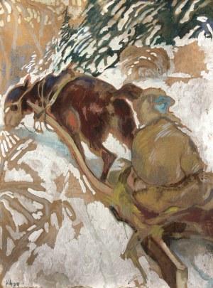Kazimierz Sichulski (1879 Lwów - 1942 tamże), Hucuł na saniach, 1919 r.