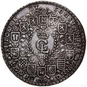 3 talary, 1664, mennica Clausthal; Aw: Koń skaczący nad...