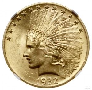 10 dolarów, 1932, mennica Filadelfia; typ Indian head; ...