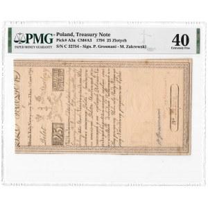 25 złotych 1794 - C - PMG 40 - częściowy znak herbowy