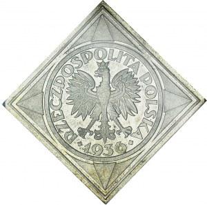 PRÓBA, Klipa, 5 złotych 1936, Żaglowiec, piękna, Ex Herstal