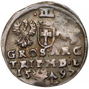 Zygmunt III Waza, Trojak Wilno 1597 - Lidman - wysoki kołnierz