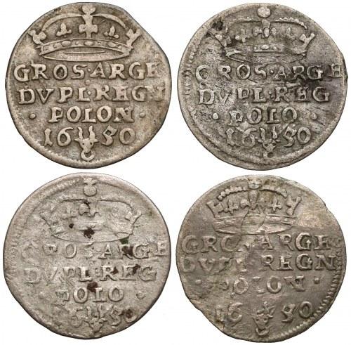 Jan II Kazimierz, Dwugrosze Wschowa 1650 (4szt)