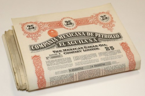 Mexico, Compania Mexicana de Petroleo - EL AGUILA - 25 Shares 1949 - SET of 23pcs