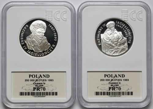 200.000 złotych 1993 Kazimierz IV Jagiellończyk - popiersie i półpostać (2szt)