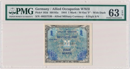 Germany, Allied Occupation WWII, 1 Mark 1944 - 8 digit, without F