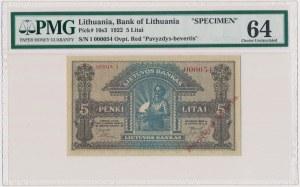 Litwa, 5 Litai 1922 SPECIMEN - I 000054