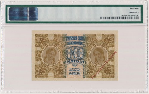 Litwa, 10 Litu 1922 SPECIMEN