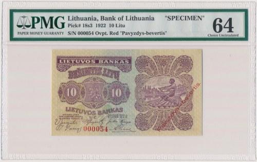 Litwa, 10 Litu 1922 SPECIMEN - 000054