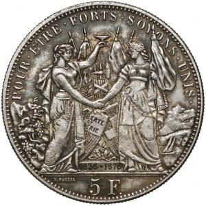 Switzerland, 5 Francs 1876 Lousanne Shooting Festival