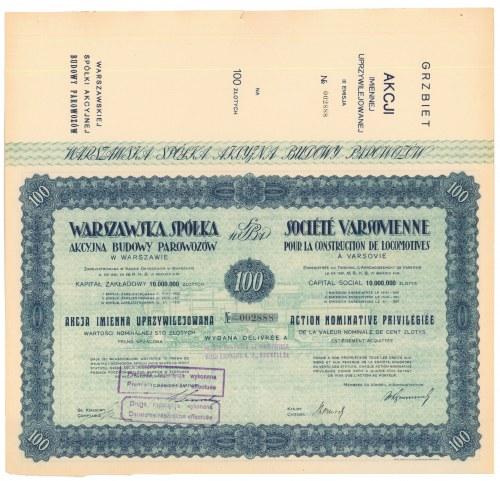 Warszawska Sp. Akc. Budowy Parowozów, Em.3, 100 zł