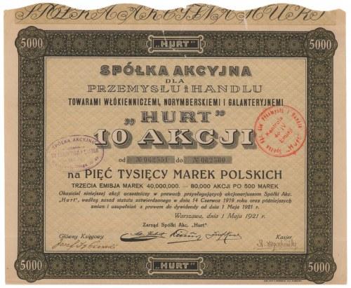 HURT Sp. Akc. dla Przemysłu i Handlu..., Em.3, 10x 500 mk