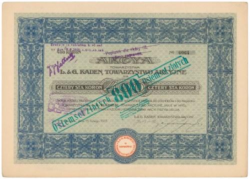 L.& G. Kaden, Tow. Akc. w Krakowie, 400 koron 1913
