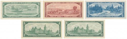 Kanada, 1 - 5 Dollars 1961-1972 - zestaw (5szt)