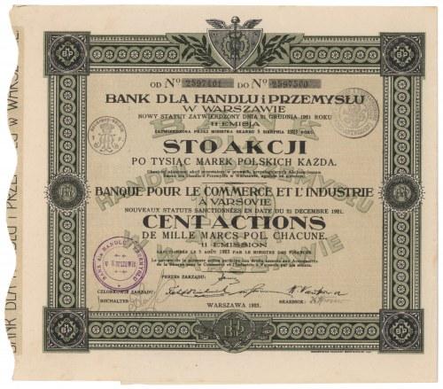 Bank dla Handlu i Przemysłu, Em.11, 100x 1.000 mkp 1923
