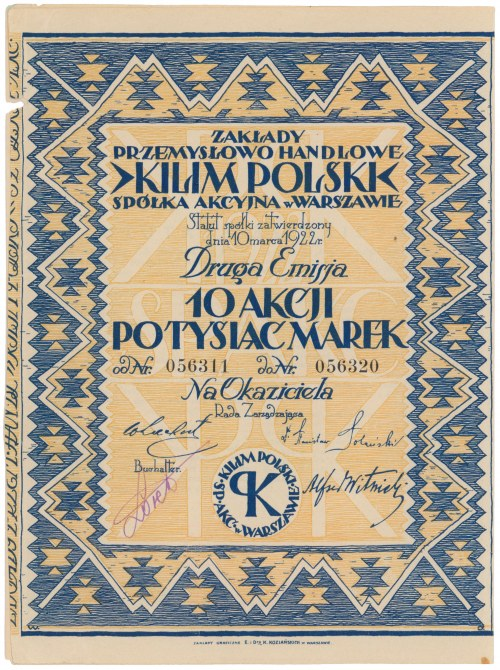 KILIM POLSKI Zakłady Przemysł. Handlowe, Em.2, 10x 1.000 mkp 1922