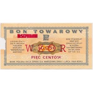 PEWEX 5 centów 1969 - WZÓR - zadrukowana numeracja bieżąca
