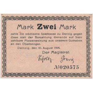Gdańsk, 2 marki 1914, Ungültig