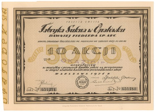Fabryka Sukna w Opatówku, Em.3, 10x 500 mkp 1924