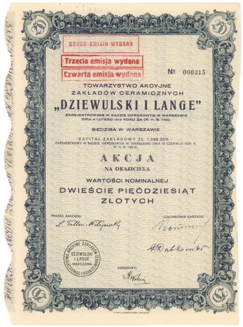 DZIEWULSKI i LANGE Tow. Akc. Zakładów Ceramicznych, 250 zł