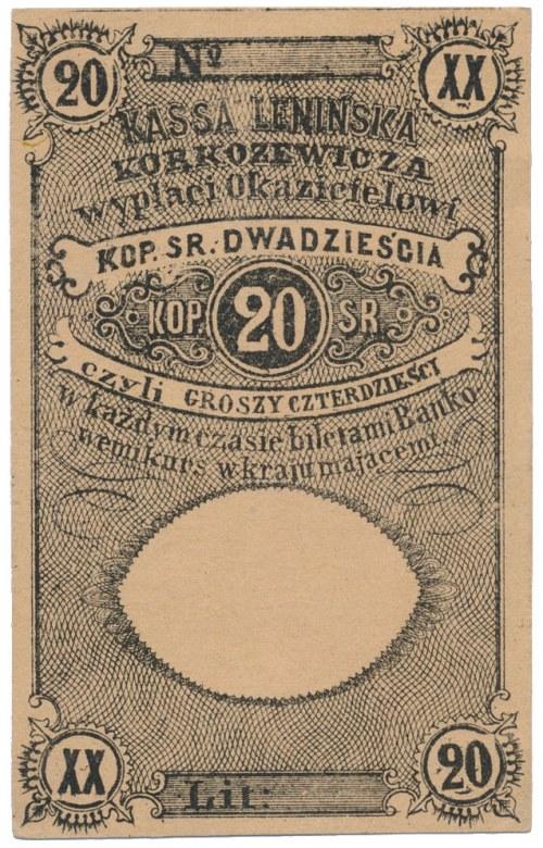 Lenin, Kasa Lenińska Korkozewicza, 20 kopiejek = 40 groszy (XIX w.)