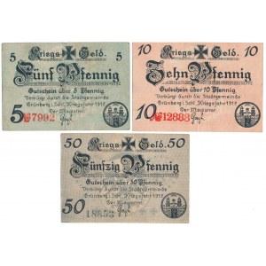 Grunberg (Zielona Góra), 5, 10 i 50 pfg 1917 (3szt)