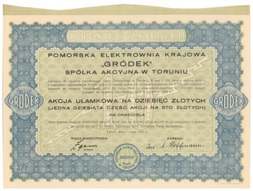 GRÓDEK Pomorska Elektrownia Krajowa, 10 zł 1931 - akcja ułamkowa