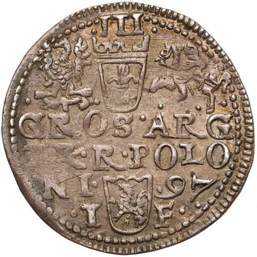 Zygmunt III Waza, Trojak Olkusz 1597 - wczesny / POLON - rzadki