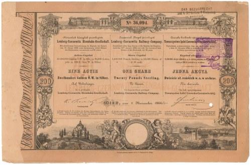 Tow. Kolei Lwów-Czerniowice-Jassy, Em.1, 200 zł reńskich 1866