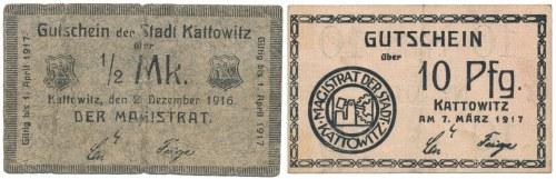 Kattowitz (Katowice), 1/2 mk 1916 i 10 pfg 1917 (2szt)