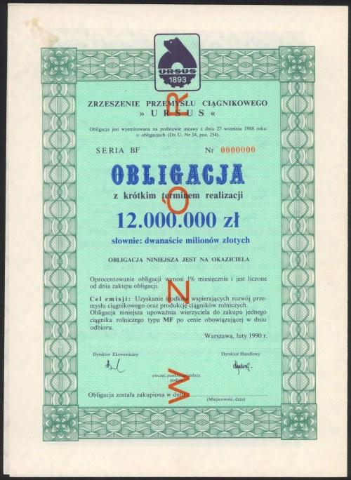 Zrzeszenie Przemysłu Ciągnikowego URSUS, WZÓR Obligacji 12 mln zł 1990
