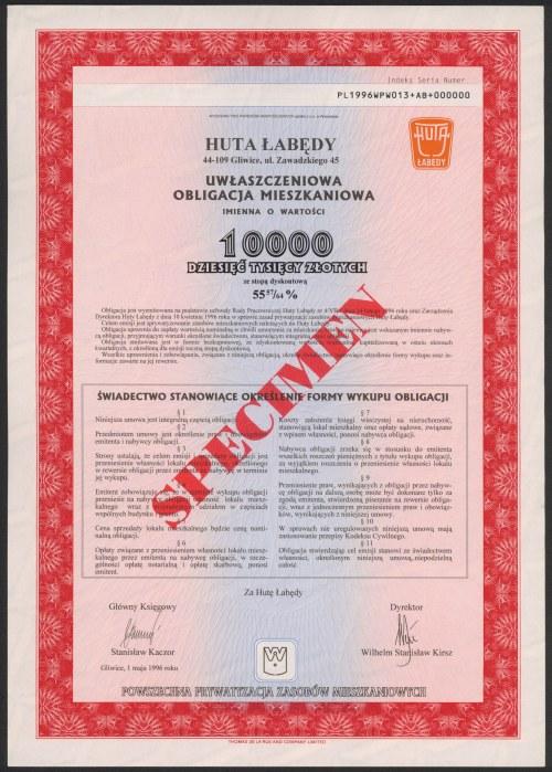 Huta Łabędy, SPECIMEN Obligacji 10.000 zł 1996