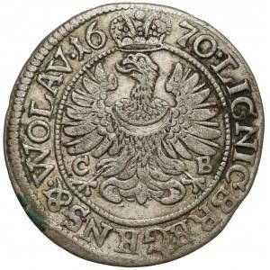 Śląsk, Chrystian wołowski, 3 krajcary 1670 CB, Brzeg